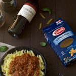 Barilla Pasta with sauce and wine