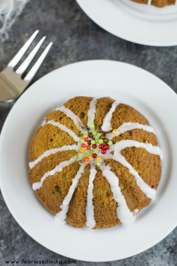 Easy gluten free matcha green tea bundt cake top view