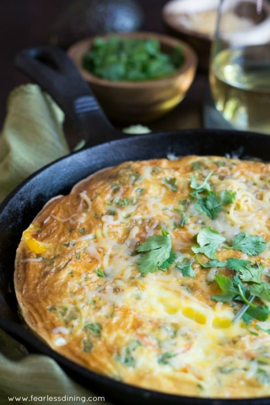frittata in a cast iron pan