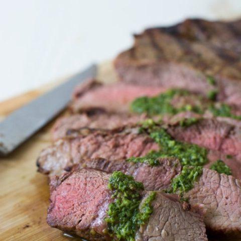 Grilled Steak with Basil Garlic Sauce