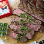 Dorot herb sauce on steak