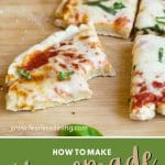 pinterest pin collage of a pizza photo