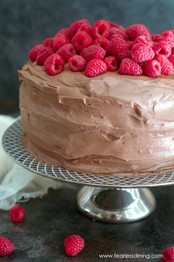 Gluten Free Chocolate Layer Cake Recipe with Raspberry Filling