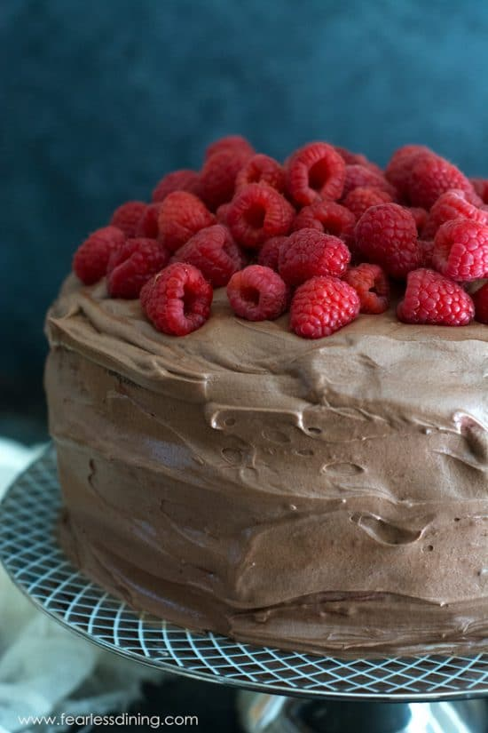 Close up of a chocolate frosted cake with fresh raspberries on top.