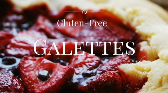 A close up picture of a strawberry and blueberry galette. The sign says gluten free galettes.