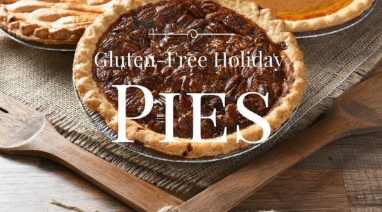 A pecan pie on a piece of burlap with a sign gluten free holiday pies