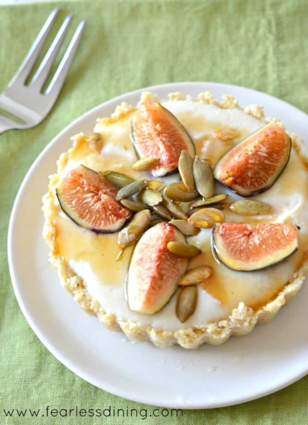 top view of a no-bake fig tart