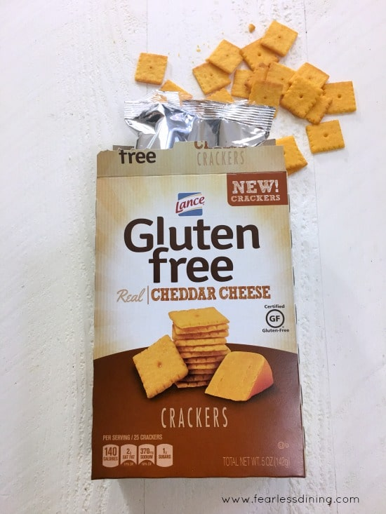 A box of Lance Gluten Free Cheese Crackers