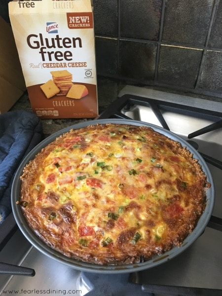 The quiche out of the oven.