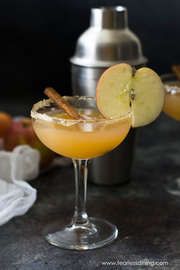 A glass of bourbon apple cider. An apple slice is garnishing the glass and a cinnamon stick is in the drink.