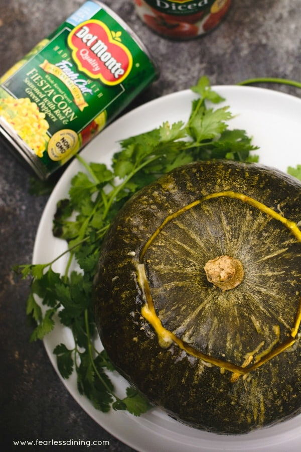 A stuffed kabocha squash for a vegan holiday