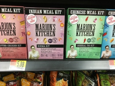 A shelf at Walmart with gluten free Indian meal kits