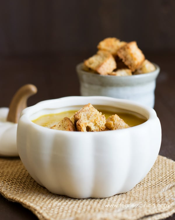 The crispy croutons float beautifully on top of the acorn squash soup
