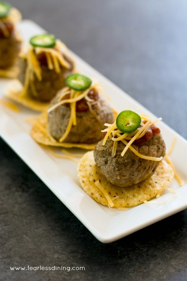 Taco meatball appetizer on a party platter.