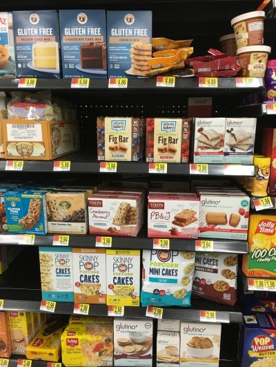 another section of the gluten free aisle at walmart