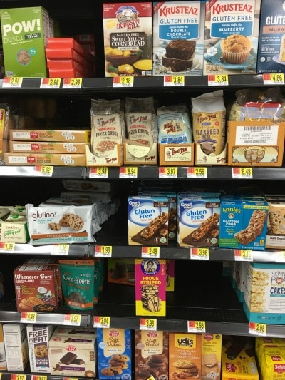 A section of the gluten free aisle at Walmart