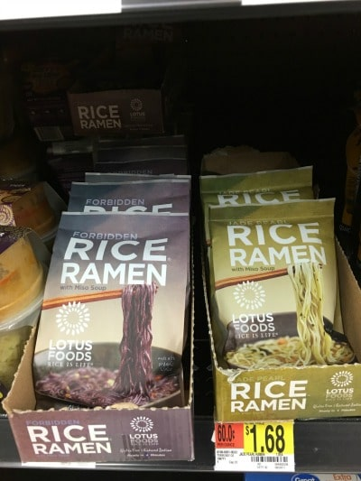 walmart shelf with packages of rice ramen