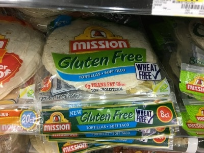 packages of gluten free tortillas at Walmart