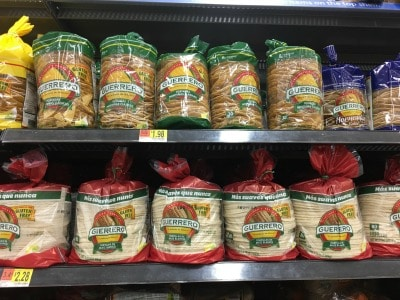 Guerro gluten free tortilla assortment on a shelf