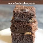 a pinterest collage of healthy brownies in a stack