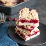 featured image of a stack of gluten free cranberry shortbread bars