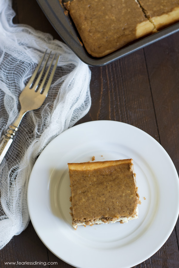Gluten Free Gingerbread Cheesecake Bars - Fearless Dining