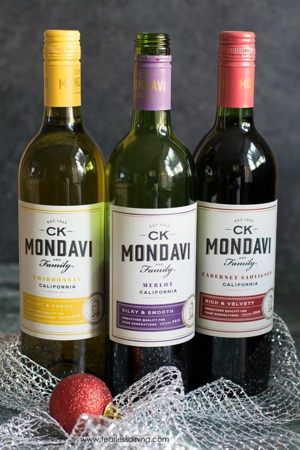 Bottles of CK Mondavi wines. Cabernet, Merlot and Chardonnay