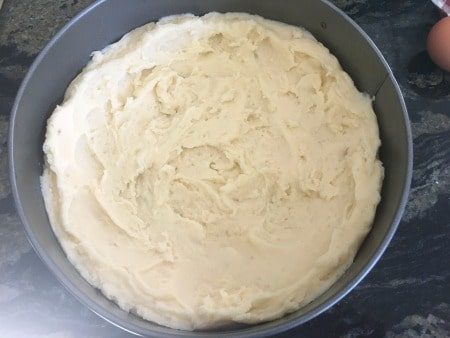 mashed potato crust in a springform pan