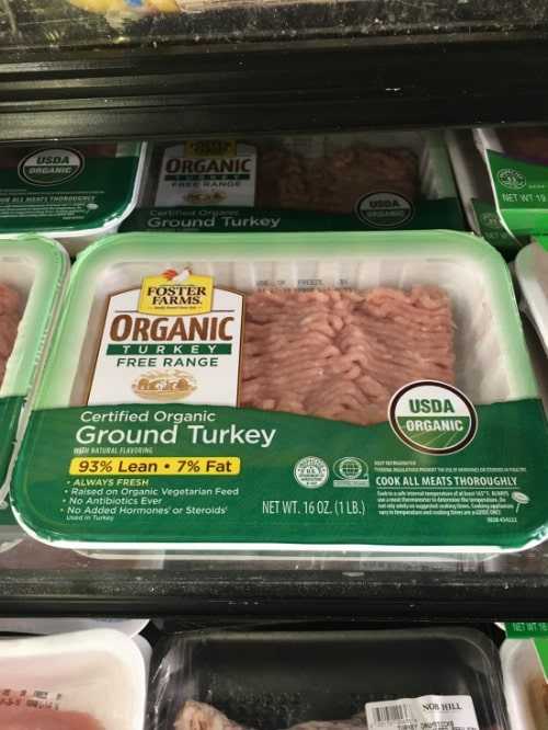 Ground turkey at the store