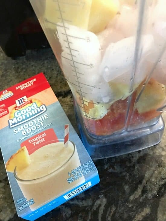 smoothie ingredients in a blender