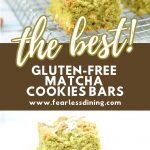 a pinterest collage of matcha cookie bars photos