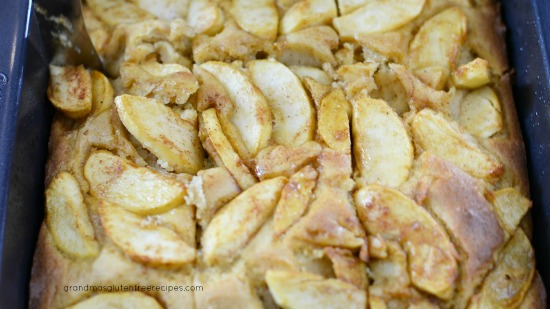 Baked German apple cake sliced.