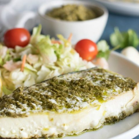 Grilled Alaska Halibut with Fresh Pesto