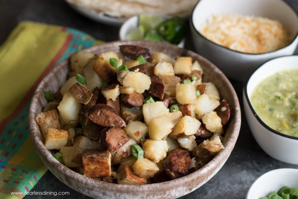 a bowl of potatoes and chorizo