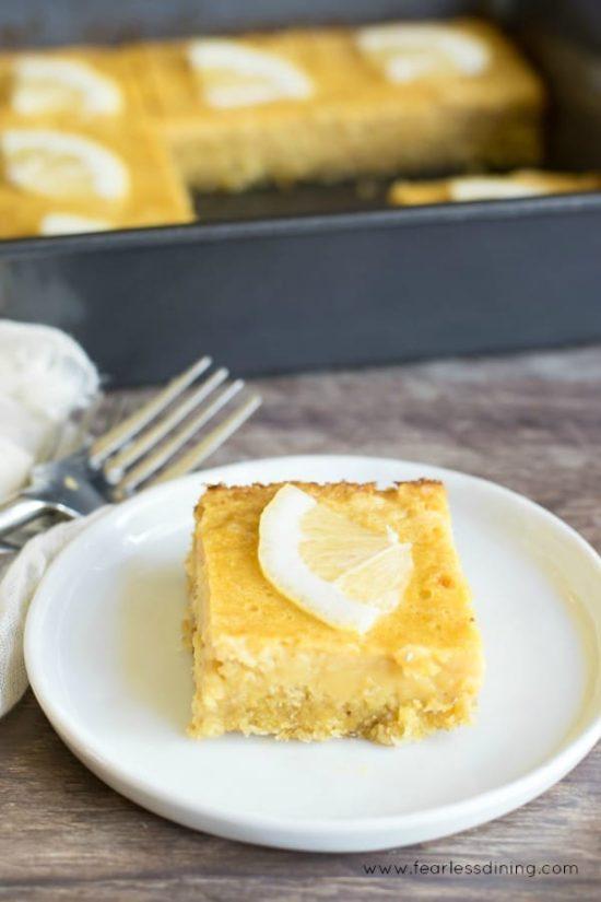 a paleo lemon bar on a plate