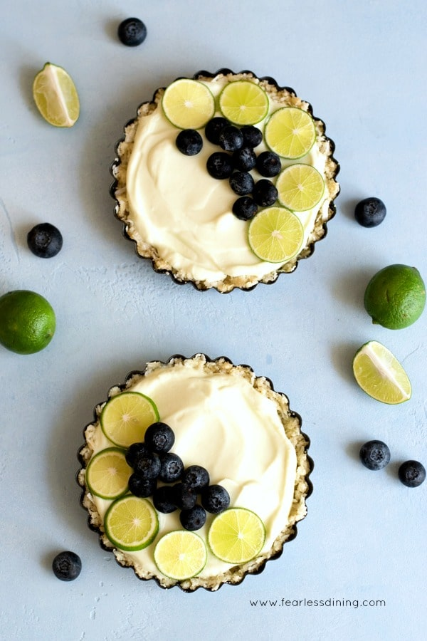 top view of two key lime gluten free breakfast tarts