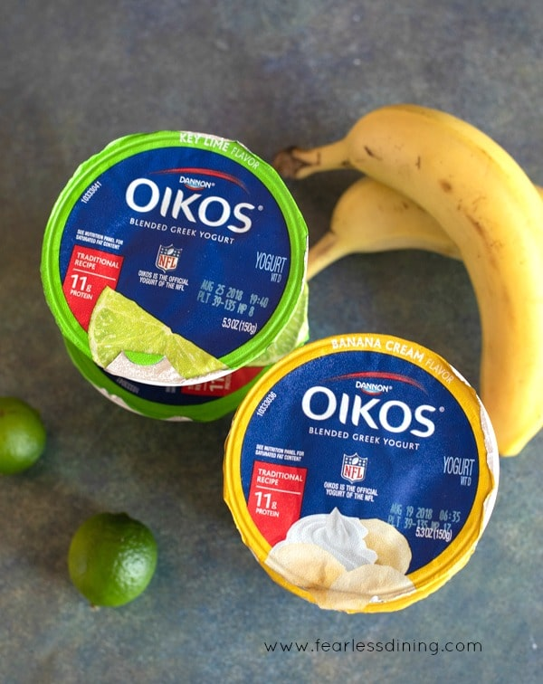 key lime and banana cream Oikos Greek Yogurt containers with bananas