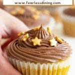 a pinterest collage of a vanilla cupcake photo