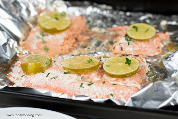 cooked salmon in a foil packet.