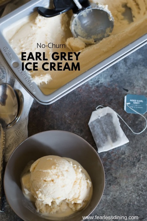 top view of a bowl of earl grey ice cream
