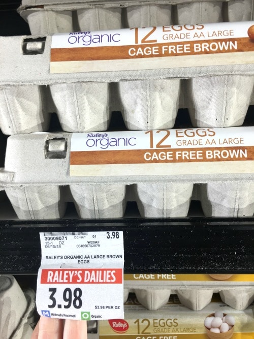 cartons of organic eggs at the supermarket