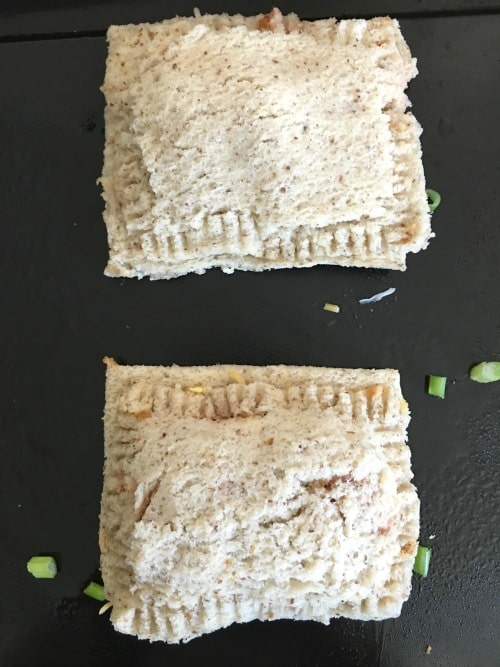 Sandwiches on a baking sheet