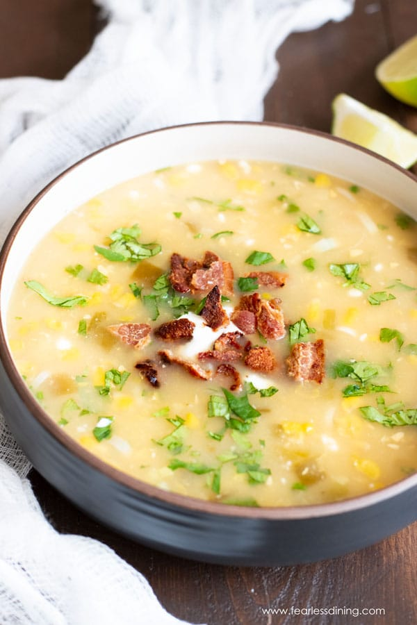 hot corn chowder in a bowl ready to eat