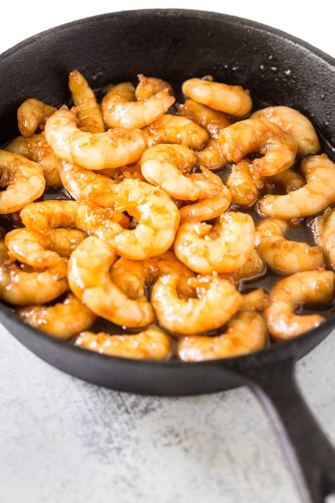 shrimp cooking in the pan