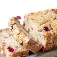 Gluten Free Super Moist Banana Bread with Cranberries