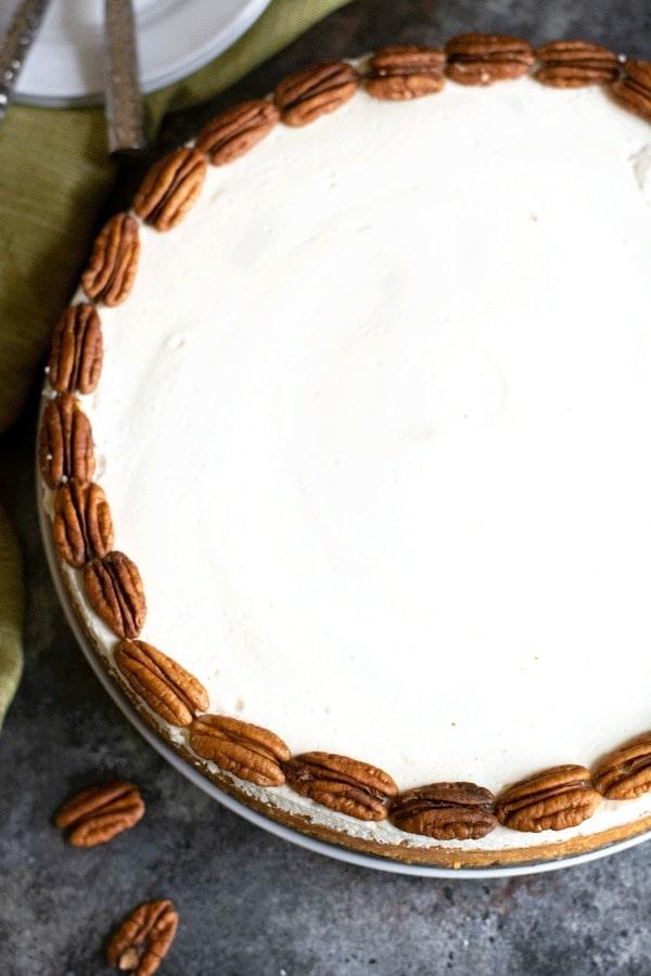 top view of a big gluten free pumpkin cheesecake