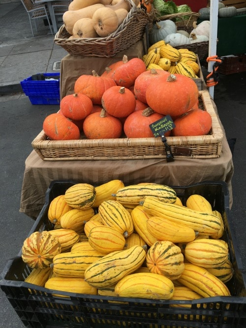 bins of winter squash at the farmer's market