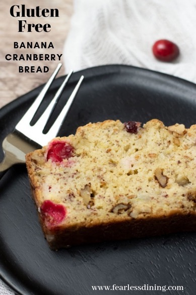 gluten free banana cranberry bread slice on a plate