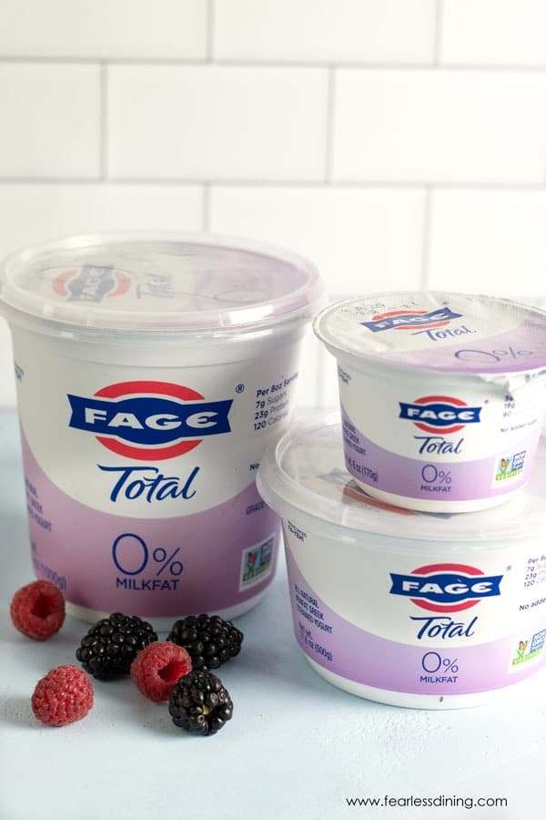 containers of FAGE yogurt