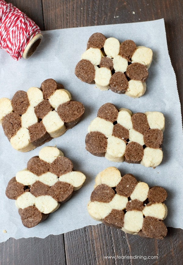 Top view of Czech black and white checkerboard cookies